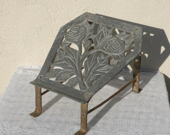 French vintage metal foot rest, antique foot rest, French railways, railway carriage foot rest, shabby chic, French country home,