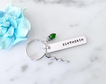 Harry Potter Inspired 'Slytherin' House Keychain   Gift for Best Friend, Him, Her, Self   Sorting Hat, Personalization Available