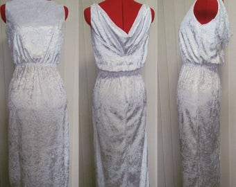 White Boat Neck Velvet Gown