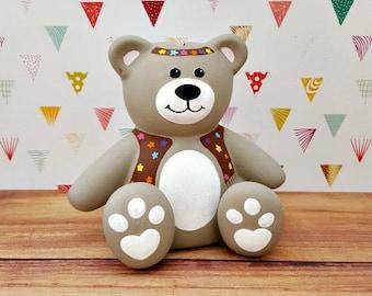 Hippie Teddy Bear Piggy Bank, Teddy Bear Piggy Bank, Baby Bank, Baby Shower Gift, Baby Nursery, Kid's Bedroom, Bear Bank, Piggy Bank