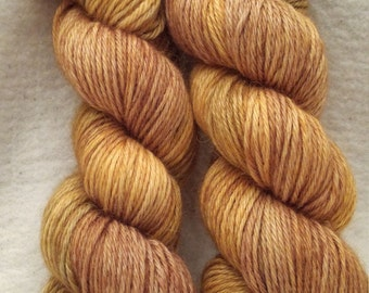 Hand Dyed Yarn / DK Weight / Light Brown and Gold / 100% Baby Alpaca