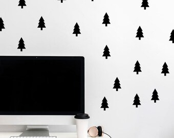 Pine Tree Wall Decal - Small Pine Tree Decals - Tree Wall Pattern - Forest Wall decal - Woodland Decals - Nature Decal - Peel & Stick