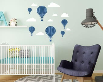 Hot Air Balloons and Clouds - Hot Air Balloon Nursery - Hot Air Balloon Decorations - Hot Air Balloon Wall Stickers - Children Wall Decal
