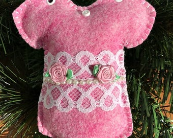 Wool Felt Rose & Lace Onesie Ornament Hanger in Pixie Pink