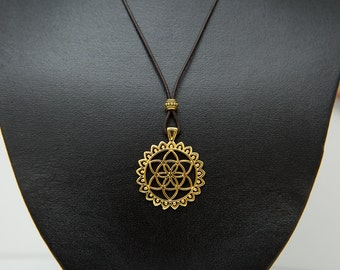 Sky Gold Flower of Life pendant and brown leather necklace. Gold pendant. Tribal, boho, spiritual by Molax Chopa Tribe. Sacred Geometry