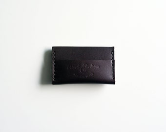 Brown leather minimalist wallet, slim front pocket wallet
