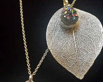 Sterling silver plated leaves with druzy necklace