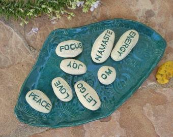 Meditation Stones message stones ceramic worry stone pocket stone meditation bowl word stone zen om inspirational yoga gift spiritual gifts