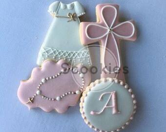 Girl Baptism Cookies/ Christening Decorated Cookies/ Baptism Decorated Cookies/Holy Communion Cookies/First Communion/ Favor / 1 Dozen