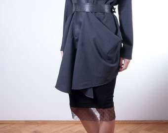 gray tunic/ oversized tunic/ faux leather tunic/ Long Sleeves Tunic Top/ Drape Top/ extravagant blouse