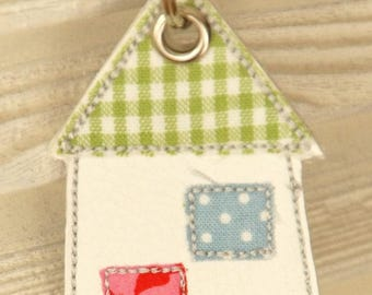 Keychain, bag, trailer home, Keychain House, pendant charms with Rhinestone, patchwork