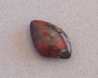 Red Black and Grey Jasper Cabochon, Brecciated Jasper, Handmade Cabochon for Jewelry Making, Polished Red Jasper Stone, Lapidary Cabochon