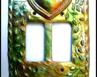 Metal Switch Plate - Metal Light Switchplate Cover -Rocker Switch Cover - Iridescent, Haitian Metal Art - Switch Plate Covers - HRS-109-2-IR