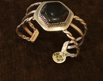 Onyx cuff bracelet Native American Indian spider sterling silver 925 twisted rope chain link