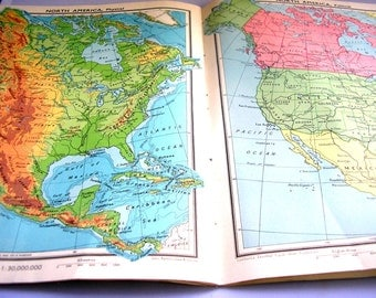 Vintage school text book Meiklejohn's Intermediate School Atlas 1940s illustrated reference book geography physical political maps 278