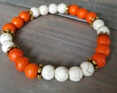 Reserved for Vicki- Orange and White Stone Bracelet Gold Accents;  Mens bracelet, Ladies  Bracelet, Custom