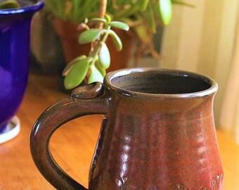 Red and Brown Mug / Red Mug / 16 Oz Mug / Double Curve Motif Mug / Wabanaki Design / Made to Order