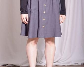 Elizabeth II Skirt / Free Shipping /Full skirt /Button front skirt / pocket skirt / elastic waistband skirt / 50s skirt / skirt pocket