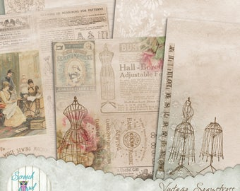 Junk Journal Pages and Elements, Sewing Ephemera, Paper Craft Supplies, Scrapbooking, Cardmaking  'Vintage Seamstress #1'