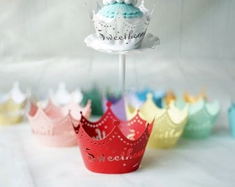 200 pcs - Crown Filigree Cupcake Wrappers / Laser-Cut Lace Cupcake Liner - DIY Wedding, Birthday, Bridal Shower, Party Decoration