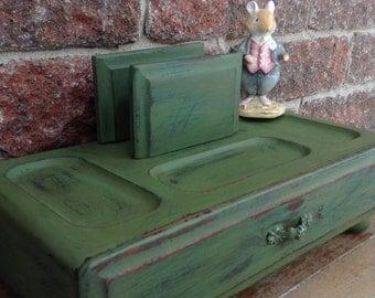 Valet, Men's Valet, Wooden Valet, Charging Station, Distressed Wooden Jewelry Box, Vintage Jewelry Organizer, Men's Organizier,
