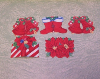 Five vintage red flocked Christmas gift tags poinsettia Santa boots bells