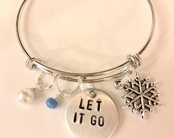 """Disney Frozen Inspired Hand-Stamped Bangle Bracelet - """"Let It Go"""""""