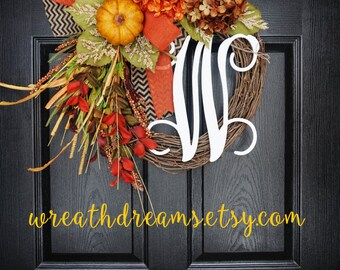 Fall Grapevine Wreath with Burlap. Fall Wreath. Autumn Wreath. Housewarming, Wedding, Mother's Day.