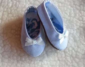 Made-To-Order - Minifee BJD MSD Ballerina Style Shoes - Pale Blue