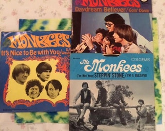Collection of Three The Monkees 45 RPM Records Daydream Believer Goin' Down Not Your Steppin' Stone I'm a Believer