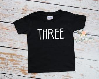 Toddler Boy's Third Birthday Black Tshirt | 3rd Birthday Boy | Three Birthday Shirt | Toddler Boy Third Birthday | 29