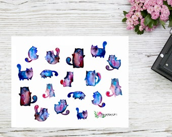 Planner stickers watercolor cat stickers, cute watercolor planner stickers