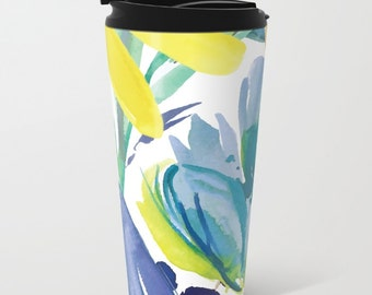 Modern Floral Metal Travel Mug - Stainless Steel Travel Mug With Lid - Gift For Women - Aldari Home