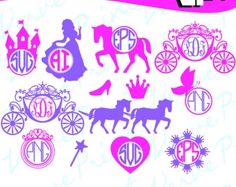 Princess Svg, Princess Carriage Monogram Svg, Princess Carriage Svg, Ai, Eps, Pdf, Png Cutting file, Silhouette Clip Art svg Commercial use