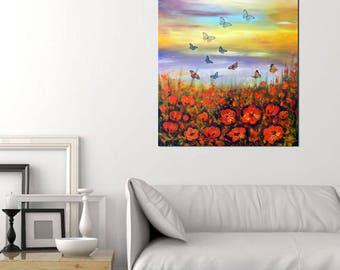 Landscape butterflies red flowers original painting art original artwork deep edge canvas  one of a kind artwork free shipping