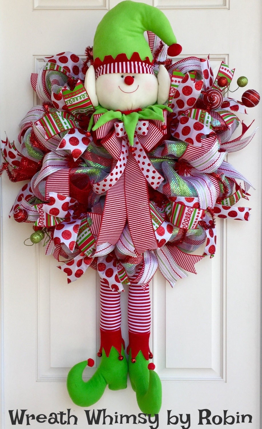 xl deco mesh holiday elf wreath in red and lime green
