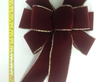 """Set of 5 Large 10"""" Hand Made Burgundy Velvet and Gold Christmas Bows - Indoor/Outdoor - Wreath Ribbons Holiday - Deep Red Burgundy"""