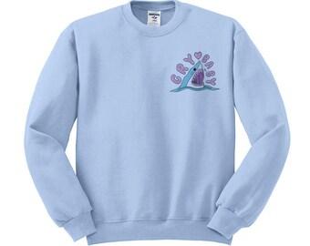 Crybaby Shark Sweatshirt, Aesthetic, Pastel Goth, Soft Grunge, Shark Shirt, 90's Style, Ocean Creature