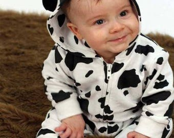 Cute Cow Baby Outfit / Animal Baby All in One / Farm Coverall / Cow Costume Romper Baby Gift by BABY MOO'S  Halloween Costume Idea