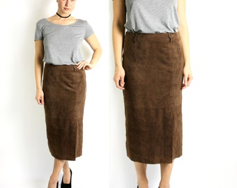 Long suede skirt   Etsy