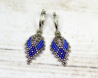 Seed bead earrings blue earrings beaded jewelry beadwork earrings leaf earrings everyday earrings boho earrings rustic jewelry gift for wife
