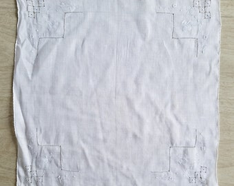 Vintage White Handkerchief with Simple Embroidery
