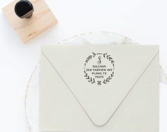 Wreath Address Stamp, Return Address Stamp, Circle Address Stamp, Round Address Stamp, Custom Stamp, Personalized Stamp, Self Inking Stamp