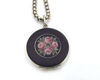 Antique Enamel & Silver Locket Necklace    Round Black Photo Locket With Roses On A Chain
