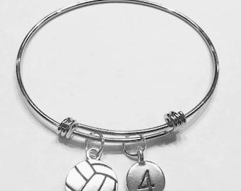 Bangle Bracelet, Volleyball Bangle, Sports Number Bangle, Volleyball Mom Gift Bracelet