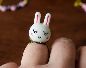 Cute Little Bunny Rabbit Statement Ring