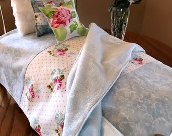 """Doll Bedding for AG Dolls in Blue and White with Roses Pretend Play 18"""" Doll Bedding Cottage Chic Ready to Ship"""