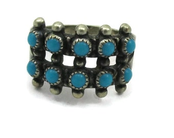 Bell Trading Post Navajo Sterling Silver Turquoise Ring Size 8 925 Native American Jewelry Vintage Estate Jewelry Indian Gift Ideas