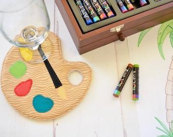 Paint palette coaster, painters mug rug, fabric drinkmat, artist or crafters gift, art teacher gift