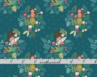Lewis & Irene Fabric, Island Girl A191 3, Hula and Surfer Girl Fabric, Teal Tropical Quilt Fabric, Beach Fabric, Cotton Yardage